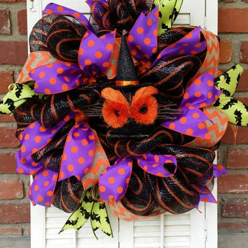 Halloween Owl Wreath Mesh Halloween Witch Owl Wreath Front Door Owl Wreath Fall Wreath Owl Wreath Spooky Halloween Decor Purple Orange Bats