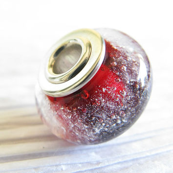 Glass cremation bead. Cremain ashes in jewelry. Sterling silver caps. Memorial for loss of pet or loved one. Choose from 16 colors. Heirloom