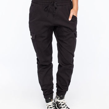 Almost Famous Crave Fame Womens Twill Jogger Pants Black  In Sizes
