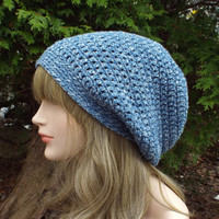 Denim Blue Slouch Beanie, Womens Slouchy Crochet Hat, Oversized Slouchy Beanie, Hipster Hat, Baggy Beanie, Mens Slouchy Hat