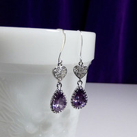 Amethyst Purple Cubic Zirconia Drop Earrings, Mothers Day Gifts, Mom Sister Grandmother Jewelry, Cocktail