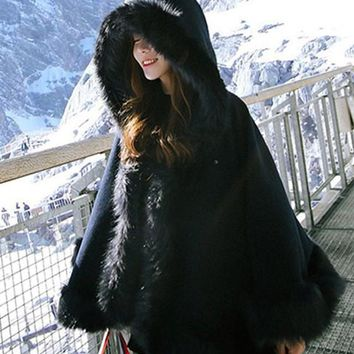 Black Patchwork Irregular Draped Faux Fur Hooded Long Sleeve Cape Thick Coat