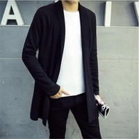 Top 2017 Hot Men's autumn and winter Slim thin sweater coat male Korean long section of wild young cardigan sweater coat fashion