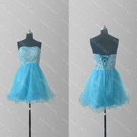 Beaded Prom Dresses Short Tulle Party Dresses Crystals Sequins Cheap Homecoming Dress Blue Bridesmaid Dress Evening Dress 2015 Formal Dress