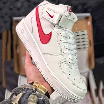 Nike Air Force 1 AF1 Mid Trending Men Women Running Sports Shoes Sneakers White(Red Hook)