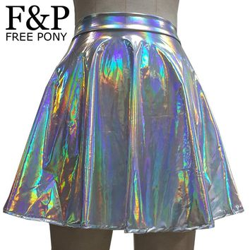 Unicorn Costumes Silver Holographic Women Skirt Festival Clothes Outfits Hologram Foil Fabric Skater Skirt Circle Cute Skirt