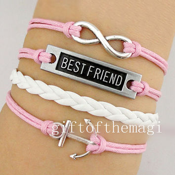 anchor,best friend,& infinity karma Bracelet Antique silver --Wax Cords braid Leather bracelet --gift for girl friend,boy friend 869