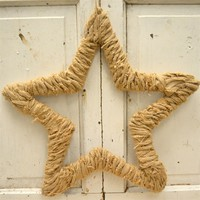 Rustic Burlap Fabric Star