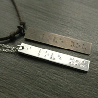 His and Hers, Braille 'I LOVE YOU' stamped necklaces,  Anniversary Gift, Wedding Day, Girlfriend and Boyfirend, Husband and Wife