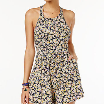 Volcom Juniors' Solo Trip Printed Strappy-Back Romper - Juniors Jumpsuits & Rompers - Macy's