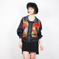 Vintage 90s Jacket Bomber Jacket 1990s Jacket Windbreaker Black Red Yellow Floral Print Abstract Print Wind Breaker Sporty M Medium L Large
