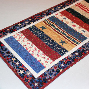 Country Patriotic Table Runner Quilt- Red, Tan, Blue Quilted Table Runner, Scrappy Quilted Runner, Stars and Stripes Quilt, 4th of July