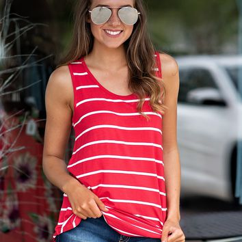 I Walk The Line Striped Tank : Red