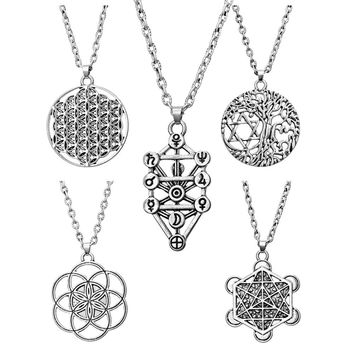Tree Of Life Yggdrasil Flowers Pentacle Pentagram Pendant Wiccan Pagan Jewelry Tibetan Silver Manstar Star Of David Necklace