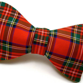 Royal Stewart Tartan Plaid Pure Silk Bow Tie - 'Fit for a King'