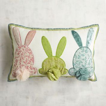 Three Bunny Tails Lumbar Pillow