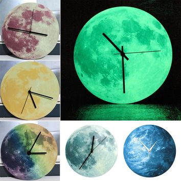New Luminous Moonlight Wall Clock 3D Watch Moon Glowing In The Dark