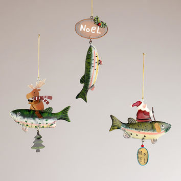 Metal Trout Ornaments,  Set of 3 - World Market