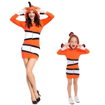 Cool Mother and Child Clown Fish Dress Costumes Cosplay For Woman And Girls Sea Theme Party Halloween Masquerade Stage CostumeAT_93_12