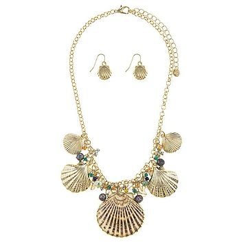 Oversize Seashell Necklace Gold Set