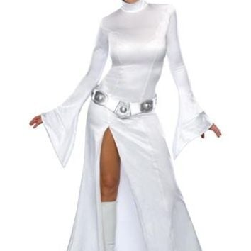 Princess Leia Adult White Dress Costume with Wig