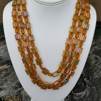 Vintage Signed West Germany Three Strand Amber Plastic Bead Necklace