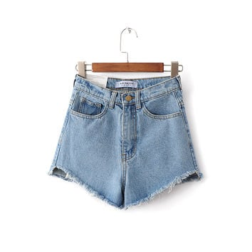 Korean High Waist Denim Summer Tassels Pants Plus Size Shorts [6328869057]