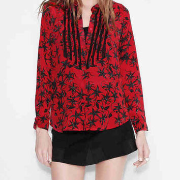 V-neck Floral Print Crochet Detail Shirt