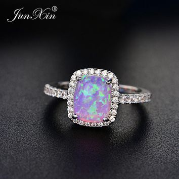 JUNXIN Simple Male Female Blue/White/Green/Purple Opal Stone Ring Vintage Wedding Engagement Rings For Men And Women