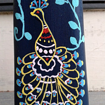 Candle Holder Handpainted Peacock Design(blue yellow green) Wooden Wall Piece