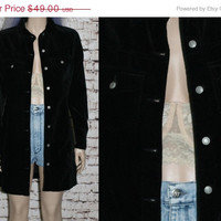 Black Velvet Jacket GAP Button Up Dress Grunge Pastel Goth Cyber Gothic Punk Hipster Witchy Witch XS S Long Duster Coat Tunic