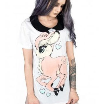 Fearless Illustration Faline Collar Tee | Attitude Clothing