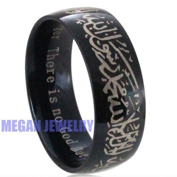 muslim Allah Shahada stainless steel ring for women men , islam Arabic God Messager Black Gift & jewelry