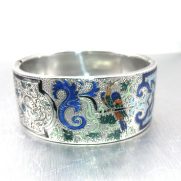 Victorian Enamel Bracelet, Etched Wide Silver Bangle Bracelet, Enamel Eagle Bird Figures Hallmarked Antique Enamel Jewelry