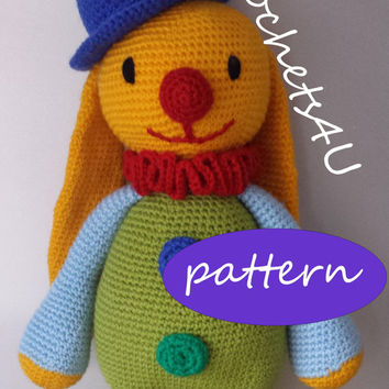 pattern crochet cuddly toy bunny clown with hat / direct pdf download / no sewing / English
