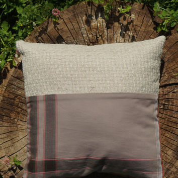 Plaid Pillow/ Organic Decorative Pillow/ Hemp Fabric/ Ethnique Plaid Cushion/ Square Toss Pillow/ Three Snails/ Free Shipping!