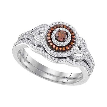 10kt White Gold Women's Round Red Color Enhanced Diamond Bridal Wedding Engagement Ring Band Set 1/2 Cttw - FREE Shipping (US/CAN)