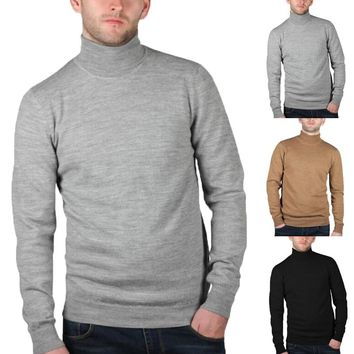 Autumn Winter Long Sleeve T-shirt Men Turtleneck High Collar Muscle Slim Fit Casual Tshirt Thermal Keep Warm Clothing Hombre