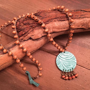 Boho Crocheted Beaded Necklace - Leather, Wooden Beads, Turquoise and Brown - Country Girl