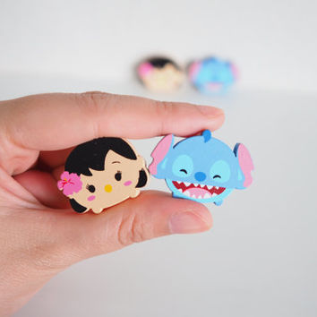 SALE Cute Lilo and Stitch Magnet Set , Wooden 4 Piece, Wood Animal Magnet Set, Home Decor, Cabin Decoration, Wood Cutout, Kitchen