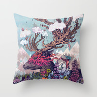 Journeying Spirit (deer) Throw Pillow by Mat Miller