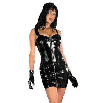 Hot Sale Plus Size Women Gothic Black Sexy Mini Bodycon Leather Dress With Front Zip M7054