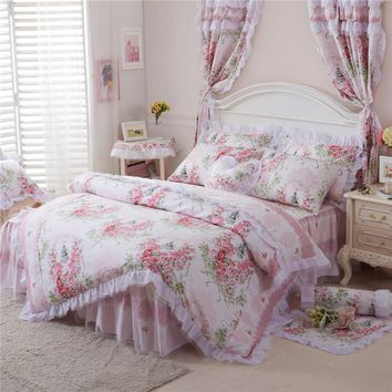 Korean style Cotton Lace Princess Bedding set Full Queen King size Pink Floral Girls Duvet cover set Bedskirt Pillowcase Girls