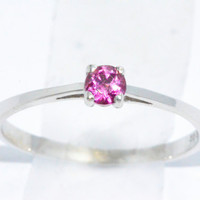 3mm Genuine Pink Sapphire Round Ring .925 Sterling Silver Rhodium Finish White Gold Quality