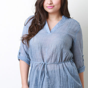 Chambray V-Neck Top Cuffed Sleeves Top