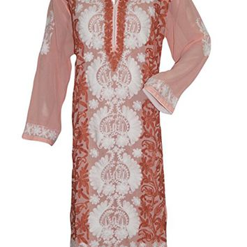 Designer Long Tunic- caftan Peach ivory Floral Embroidered Boho Fashion Dress xxl