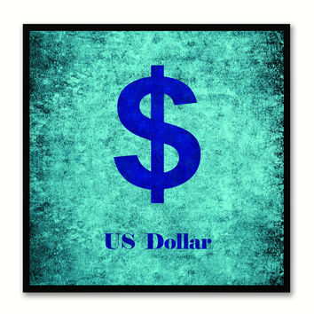 United States Dollar Money Currency Aqua Canvas Print with Black Picture Frame Home Decor Wall Art Collection Gifts
