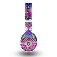 The Pink & Teal Modern Colored Aztec Pattern Skin for the Beats by Dre Original Solo-Solo HD Headphones