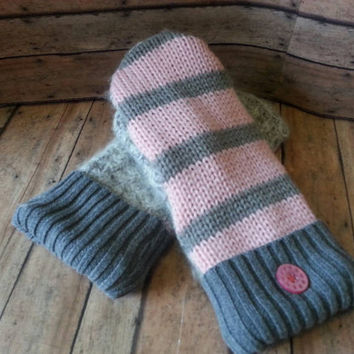 Pink and gray angora Fleece Lined recycled sweater mittens, upcycled sweater mittens, ladies sweater gloves, reclaimed sweater, repurposed