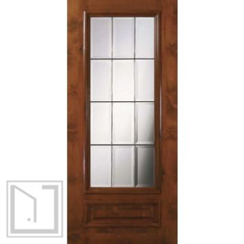 Slab French Single Door 80 Wood Alder French 1 Panel 3/4 Lite Glass